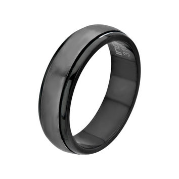 Inox Jewelry Men's Stainless Steel Black IP Spinner Ring