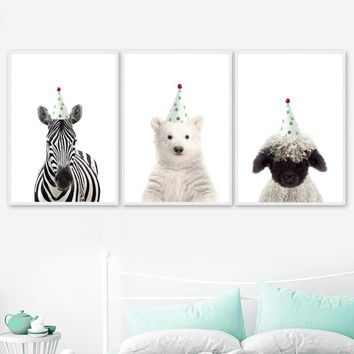 Bear Zebra Sheep Crown Wall Art Canvas Painting Nordic Posters And Prints Cartoon Animal Wall Pictures Baby Kids Room Home Decor
