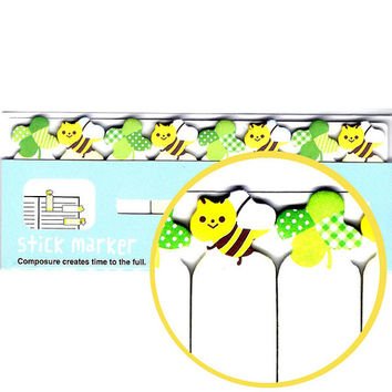 Bumble Bee and Clover Cute Memo Pad Post-it Index Tab Sticky Notes Bookmarks | Cute Animal Themed Stationery Supplies