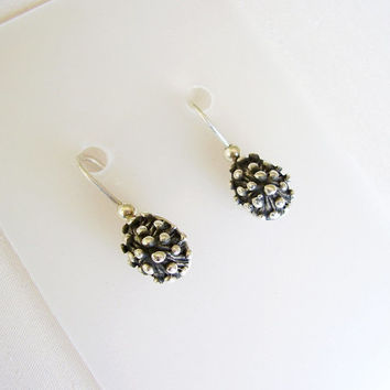 Sterling Silver Pineapple Earrings - Organic Texture - Silver Balls Texture - Small Original Delicate Earrings - Contemporary Jewelry