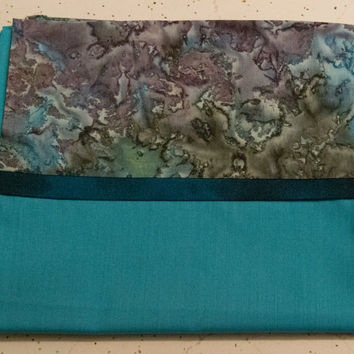 Teal, Black, and Purple Pillowcase - Decorative Pillow Case - Blue and Purple Bedroom Decor