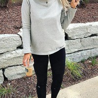 Grey Buttons Long Sleeve Casual Sweet Going out Sweatshirt