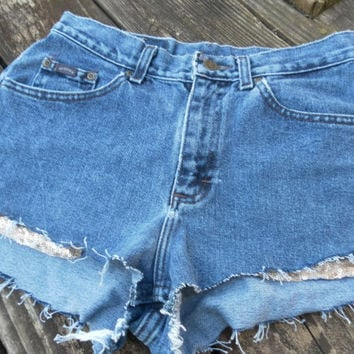 Sequin High Waist Shorts Denim Custom One of a KInd