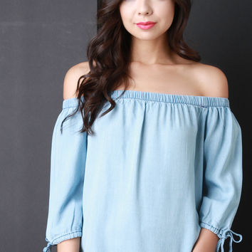Off The Shoulder Tied Sleeve Top