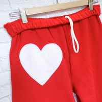 Heart Patch Sweatpants: RED & WHITE pant