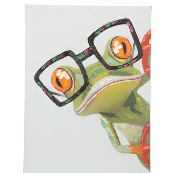 Peeking Frog Wall Décor Oil Painting Canvas