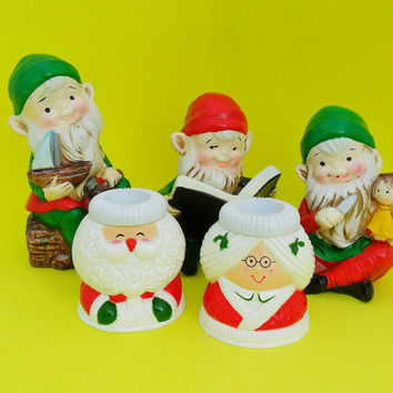 Vintage Christmas Decor Candle Holders Santas Elves Figurines Hallmark Homco Xmas Decorations Elf Mr & Mrs Claus Holiday Table Candleholders