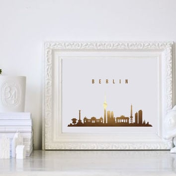 Berlin Print, Berlin Skyline, Real Gold Foil, Berlin Art, Berlin Poster, Office Decor, Office Poster, Illustration Art, City Illustration.