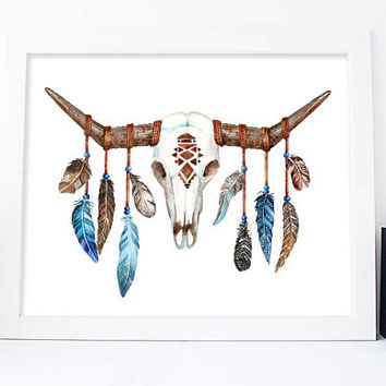 Bull Head Print, Bull Skull Print, Cow Horns, Feathers art, Boho skull Printable skull Boho Wall Art, Native Art, Tribal Print, For Him