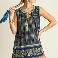Sleeveless Border Print Tunic - Navy
