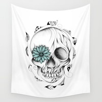 Poetic Wooden Skull Wall Tapestry by LouJah