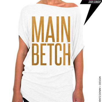 Main Betch - Squad Bridal Collection - White with Gold Longer Length Slouchy Tee (Small - Plus Sizes)