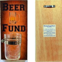 Wooden Wall Change Jar 10x5 Sign - Beer Fund