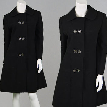 Vintage 60s 70s Mod Coat Black Wool Coat Space Age Peter Pan Collar Womens Pea Coat Princess Coat Military Coat Fit and Flare Winter Coat