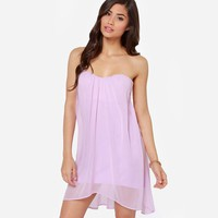 Streetstyle  Casual Purple Plain Bandeau Cut Out Bow Mini Dress