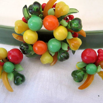 Vintage 50s Fruit Salad  Made In Austria Brooch and Earrings Set