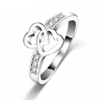 Women's Eternity Love Promise Ring silver Plated Double Heart Wedding Engagement Ring