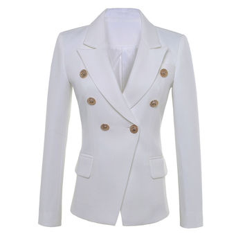 HIGH QUALITY New Fashion 2016 Star Style Designer Blazer Women's Gold Buttons Double Breasted Blazer size S-XXL