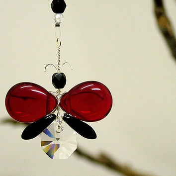 Valentine Gift Swarovski Crystal Suncatcher Hanging Red Gothic Butterfly Ornament Rear View Mirror Charm Light Catcher Car Accessories Women