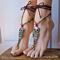 NO.4 - Rainbow OWL Hippie Summer Gypsy Bohemian crochet Barefoot Sandals foot jewelry