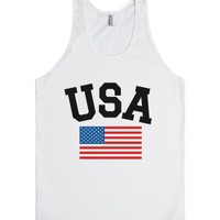 Usa Flag Tank Top (id6121735)-Unisex White Tank