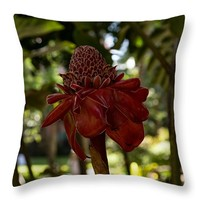 """Glossy Jewel In The Jungle - Red Torch Ginger Lily Throw Pillow for Sale by Georgia Mizuleva - 14"""" x 14"""""""