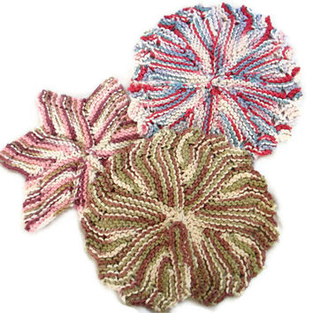 Dishcloth Washcloth Set of 3 Round Star Colorful
