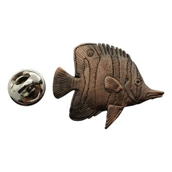 Butterfly Fish Pin ~ Antiqued Copper ~ Lapel Pin