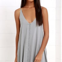 Cute as a Button Grey Swing Dress