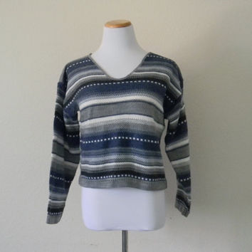 FREE usa SHIPPING Vintage women's cropped sweater long sleeve hipster striped geek nerd oversized size M