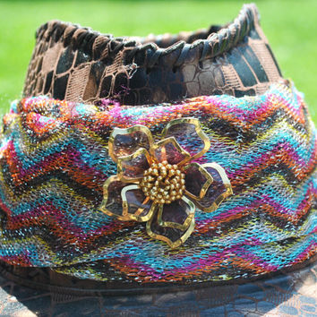 Festive Country Western Leather Brown/Gold Hat- Hand Decorated W/ Multi Colored Lame' Cloth Amethyst Flower