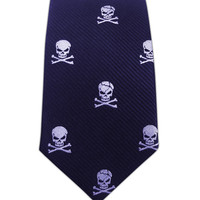 Skull and Crossbones - Navy (Skinny) from TheTieBar.com - Wear Your Good Tie Everyday