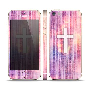 The Vector White Cross v2 over Vibrant Fading Purple Fabric Streaks Skin Set for the Apple iPhone 5s