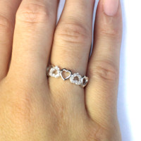 5 Hearts Promise Ring on Hand 2 - Beautiful Promise Rings