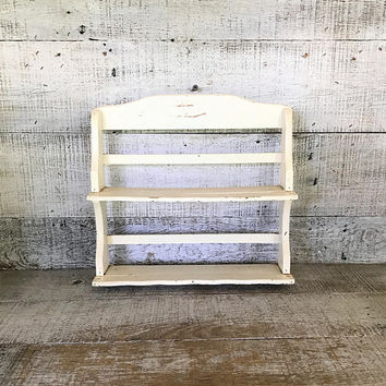 Shelving Unit Wood Shelf Shabby Wooden Shelving Unit Wall Mount Shelf Handmade Shelf Nic Nac Shelf Mid Century Decor Cottage Chic