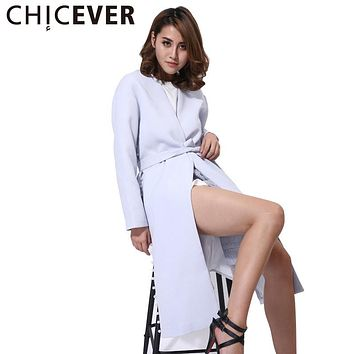 CHICEVER 2017 Spring Women Lace up Tunic Pearl long Jackets Female High Quality Side Split Coats Windbreak Casual Tops Clothes