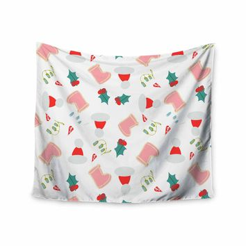 """bruxamagica """"Santa´s Hat And Boots"""" White Multicolor Holiday Pattern Illustration Wall Tapestry"""