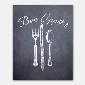 Kitchen Wall Art - Bon Appetit - Typography - fork, spoon, knife - 11x14 print on your choice of background- vintage, distressed, chalkboard