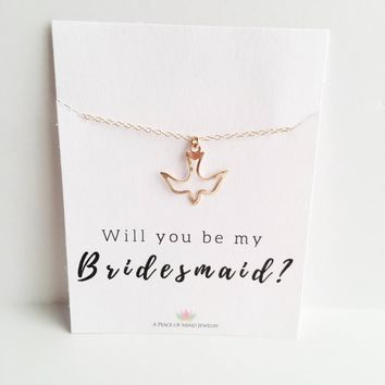 Will you Be My Bridesmaid? 14k Gold Filled Dove Outline Necklace