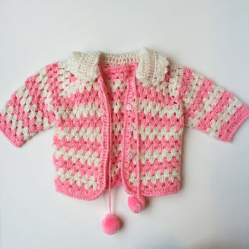 Vintage baby girl handmade crochet sweater and vest set – pink toddler cardigan – pompom – 18m 2t
