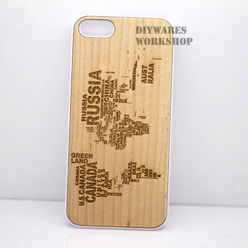 Natural Wood iPhone 4 4s 5 5s 5c Case - Engraved Word World Map ANtique Case, Laser Engraving 3D Geometric, 4s, Wooden hard Cell cover