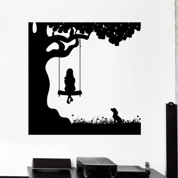 Wall Decal Girl Child Dog Friend Pet Swing Nature Vinyl Sticker (ed482)