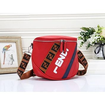 Fendi Fashion New More Letter Leather Shopping Leisure Shoulder Bag Women Red