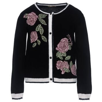 MONNALISA - Black Cardigan With Rose Intrasia