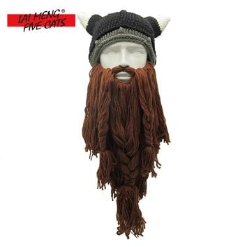 LMFC Men/Women Barbarian Vagabond Viking Beard Beanie Horn Crochet Mustache Hats Handmade Winter Warm Funny Gag Christmas Cap