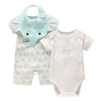 New Baby Boy Clothing Set Summer Baby Cotton Bodysuit+ Elephant Printed Romper + Animal Bibs 3pcs Set Newborn Baby Girl Clothes