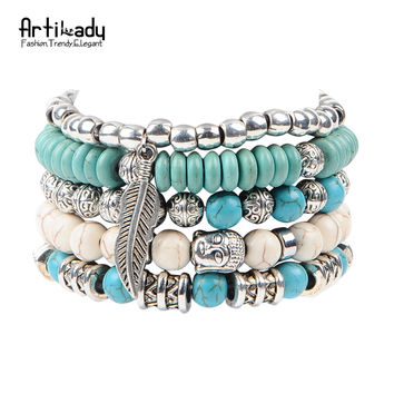 Artilady new buddha beads 5pcs set bracelets boho stone bracelet set for statement women jewelry party gift