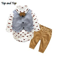 Fashion baby boys clothing sets infant clothes baby boys gentleman cotton bow tie+ rompers + vest+trousers
