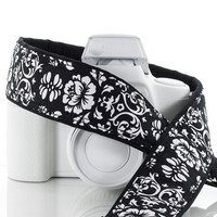 dSLR Camera Strap, Black & White Floral Damask,Camera Neck Strap, Pocket, Canon or Nikon Strap, SLR, 21 a