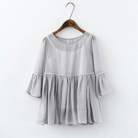 Ruffled Sleeve Chiffon Blouse And Spaghetti Strap Tank